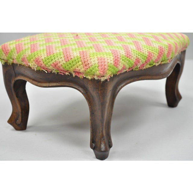 Shabby Chic Early 20th Century Antique Louis XV Style Walnut Footstool For Sale - Image 3 of 12