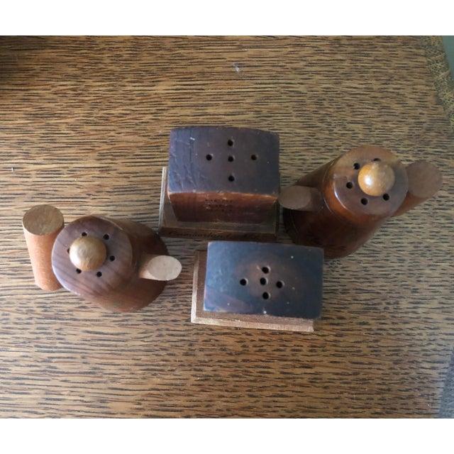 Vintage Wooden Novelty Souvenir Salt and Pepper Shakers - Set of 4 For Sale - Image 4 of 5
