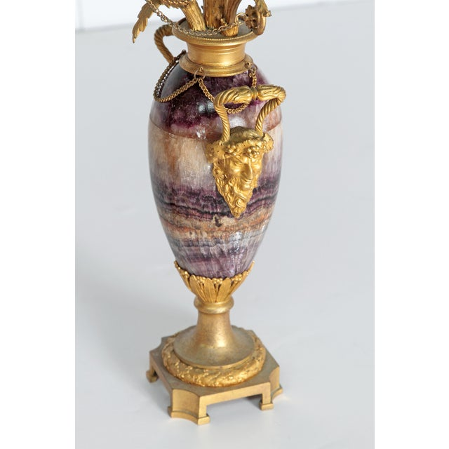 Neoclassical / Louis XVI-Style Gilt Bronze Mounted Blue John Candlelabra For Sale In Dallas - Image 6 of 12