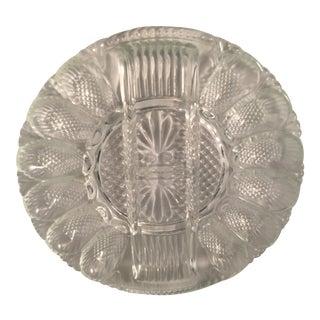 Indiana Vintage Clear Glass Deviled Egg Platter For Sale
