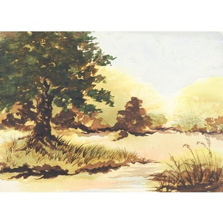 Plein Air Watercolor Landscape For Sale