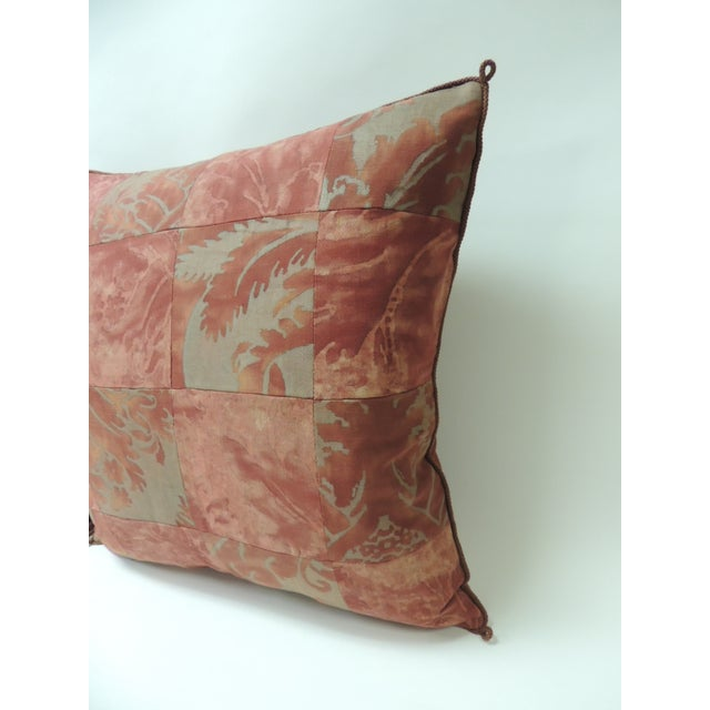 """Pair of vintage patchwork Fortuny """"Glicine"""" pattern red and silvery decorative pillows Pair of vintage Fortuny """"Glicine""""..."""