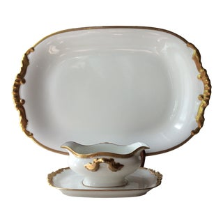 1900s French Limoges Gilt Porcelain Platter With Sauce Boat - 3 Pieces For Sale