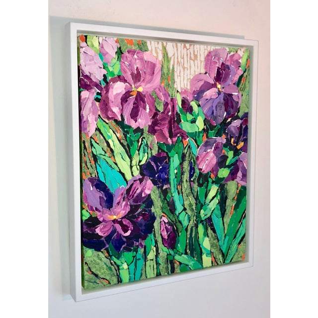"Impressionism ""Purple Irises II"" Acrylic Collage Painting For Sale - Image 3 of 7"