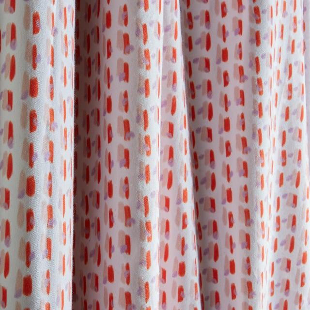 "Modern Pepper Poppy Pink 50"" x 108"" Curtains - 2 Panels For Sale - Image 3 of 4"