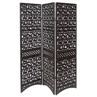 Late 20th Century Steel Folding Screen With Animal Motif For Sale