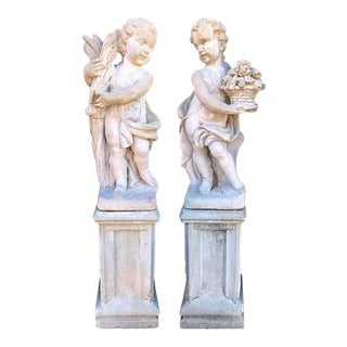 Pair of Outdoor Cement Garden Cherub Statues For Sale