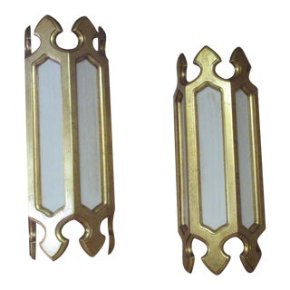 Gilt Wood Frame With Linen Wall Sconces - a Pair For Sale