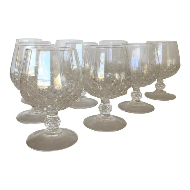 Diamond Faceted Brandy Snifter Glasses by Cristal d'Arques - Set of 10 For Sale