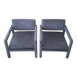 Mid Century Blue Parsons Lounge Chairs - a Pair For Sale
