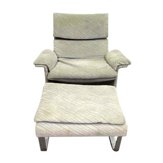 Mid-Century Plush Upholstered Chair With Ottoman For Sale