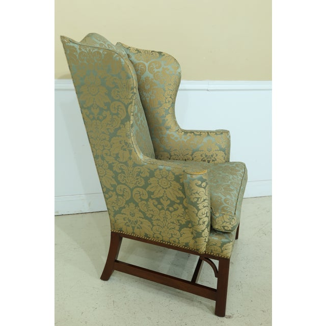 1960s Kittinger Chippendale Mahogany Wing Back Chair For Sale - Image 5 of 13