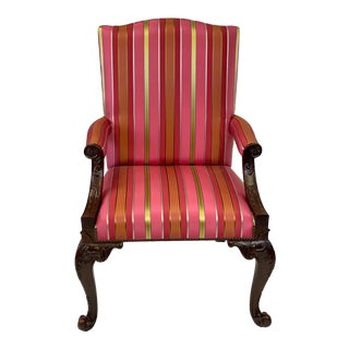 Baker Chippendale Style Mahogany Gainsborough Chair For Sale