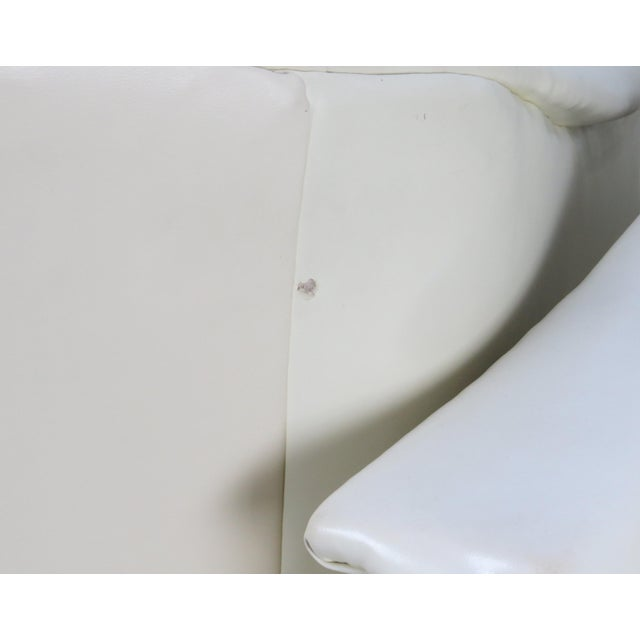 1970s Mid-Century Modern White Vinyl Swivel Chairs - a Pair For Sale - Image 12 of 13