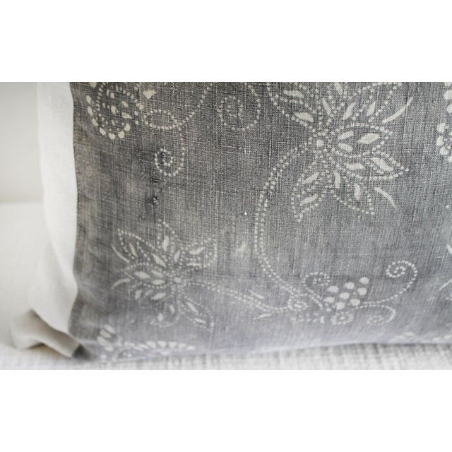 Vintage Tribal Gray and Natural Textile Pillow For Sale - Image 4 of 6