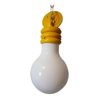 Mid-Century Pop Art Giant Yellow Light Bulb Ceiling Fixture For Sale