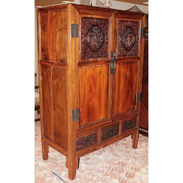 Create your Zen with this classical Chinese 2 door armoire cabinet, carved inset panels, 2 painted drawers inside, 2...