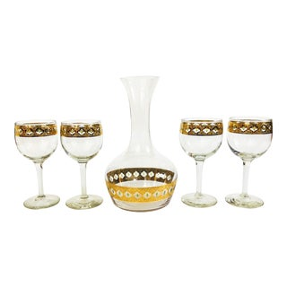 Mid Century Culver Valencia Wine Glass and Decanter Set - 5 Piece Set For Sale