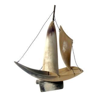 Vintage Horn / Bone Sailboat For Sale