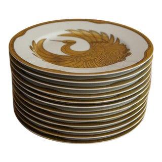1980s Golden Tsuru Plates, Fitz and Floyd Crane Plates - Set of 12 For Sale