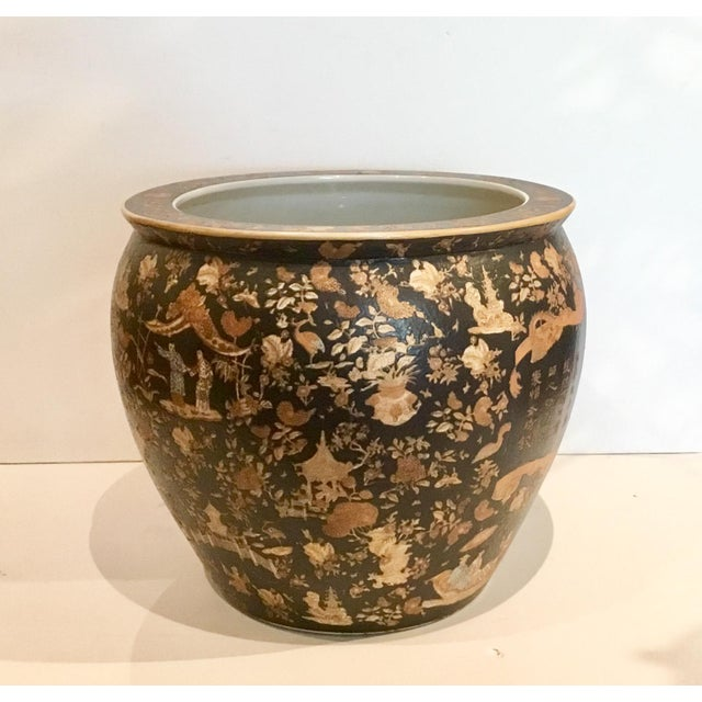 Large Vintage Asian Porcelain Fish Bowl With Black and Copper Glaze For Sale In Atlanta - Image 6 of 6