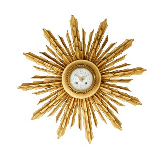 Gilded Radiant Rays Wall Clock For Sale