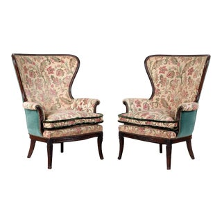 Pair Vintage American Mahogany Tapestry/Velvet Fringed Wing Back Chairs C 1930 For Sale