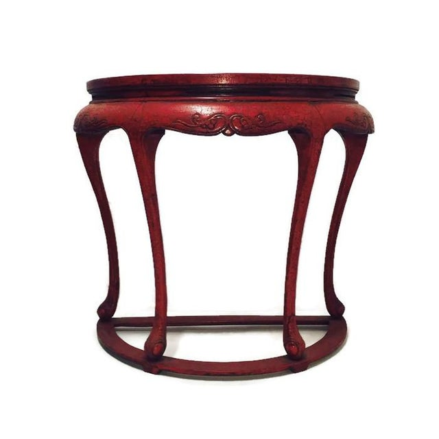 Chinoiserie Red Demilune Console Tables - a Pair - Image 2 of 10