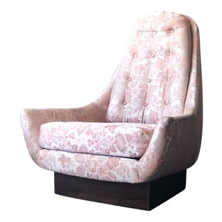 Mid-Century Adrian Pearsall Style High Back Lounge Swivel Chair For Sale