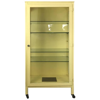 Classic Industrial Metal and Glass Cabinet For Sale
