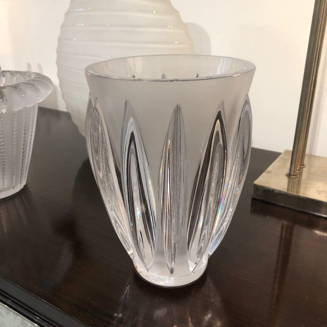 "Glass Lalique ""Courchevel"" Frosted and Clear Glass Vase For Sale - Image 7 of 7"