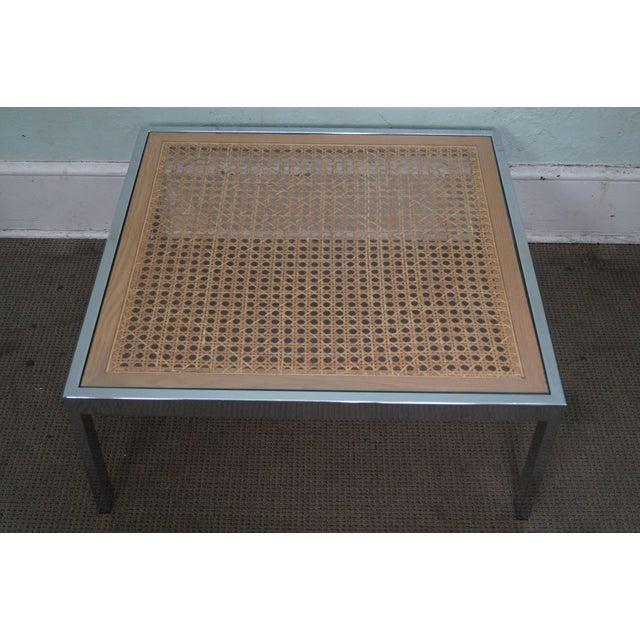 Milo Baughman Chrome Coffee Table: Milo Baughman Chrome & Cane Glass Top Square Coffee Table