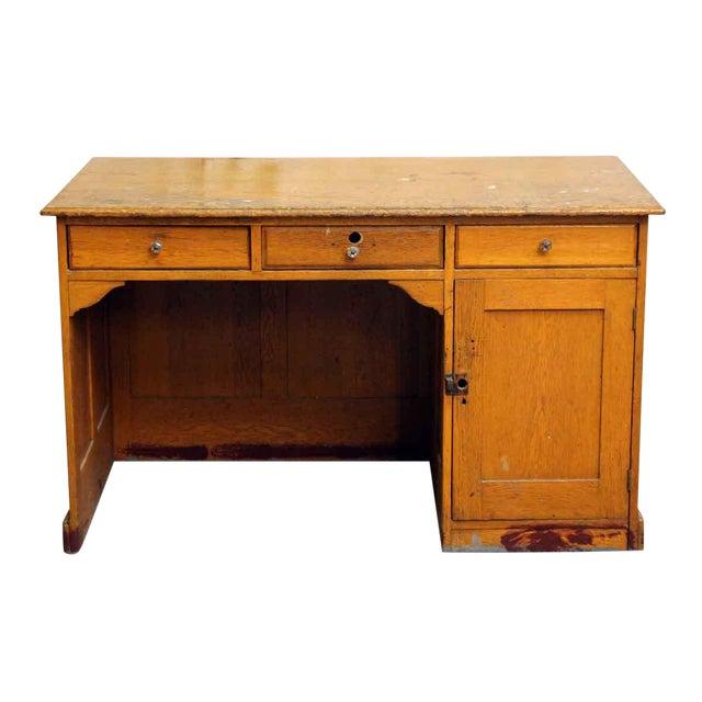 Restorable Oak Wood Library Desk - Image 1 of 8