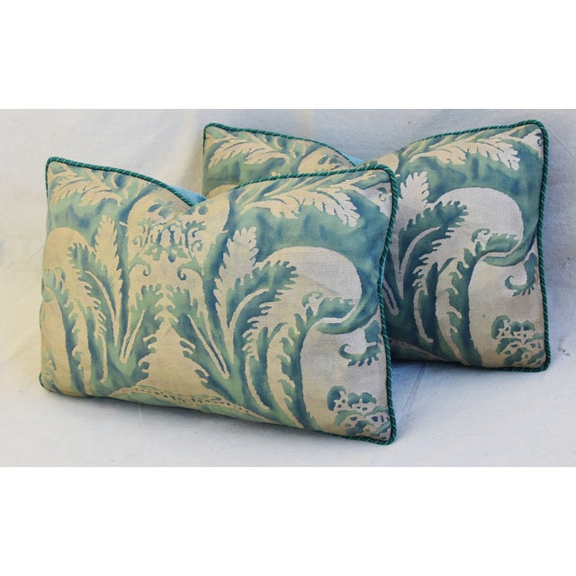 Turquoise Italian Mariano Fortuny Feather/Down Accent Pillows - Pair For Sale - Image 8 of 13