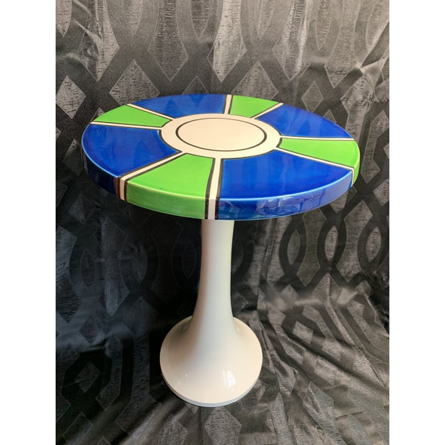 1960s Raymor Ceramic Pottery Tulip Shape Side Table, Made in Italy For Sale - Image 10 of 10