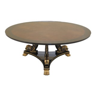 Karges Large Round Dolphin Base Walnut Dining Room Table