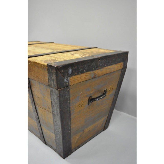 Late 19th Century Antique Primitive Wooden Trunk/Blanket Chest For Sale In Philadelphia - Image 6 of 13