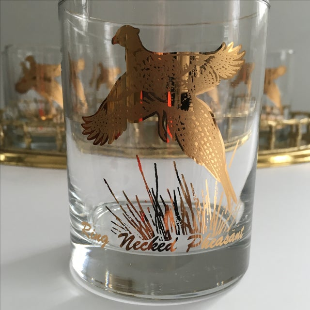 Ring Necked Pheasant Vintage Cocktail Glasses - 8 - Image 6 of 7