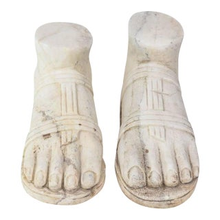"""Pair of Italian """"Grand Tour"""" Marble Reductions of a Model of a Foot For Sale"""