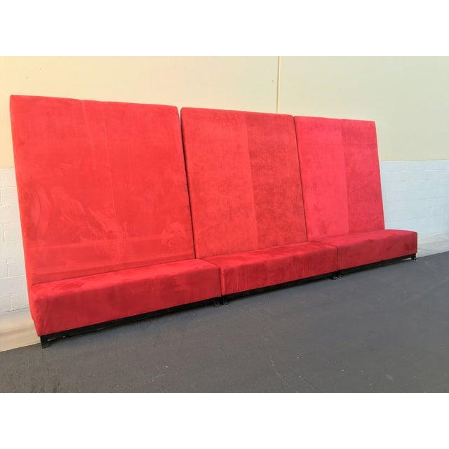 High-Back Red Velvet Benches - Set of 3 - Image 8 of 9
