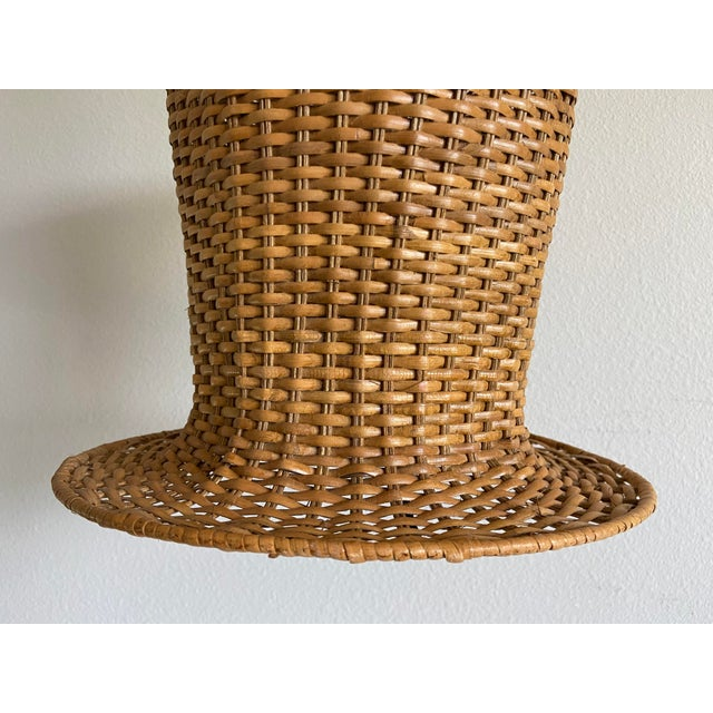 1970s Wicker Top Hat Pendant Light For Sale - Image 5 of 10