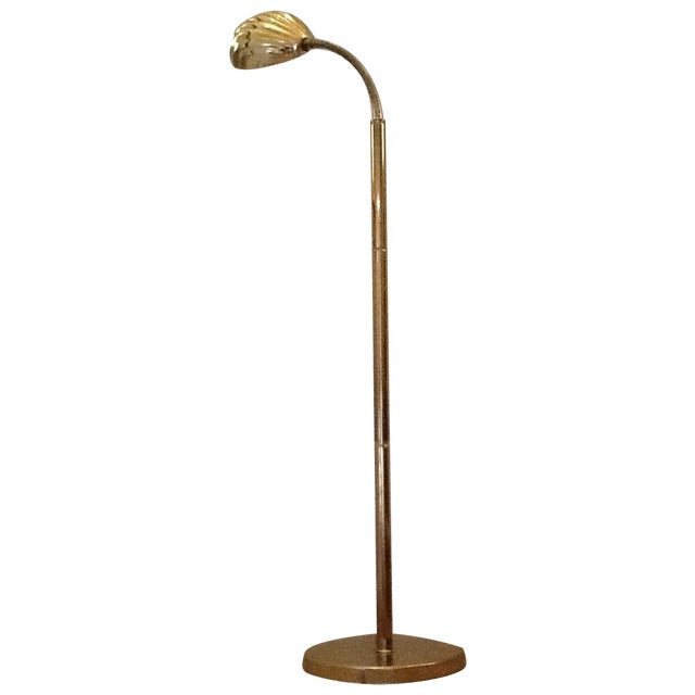 Mid Century Modern Brass Shell Floor Lamp | Chairish