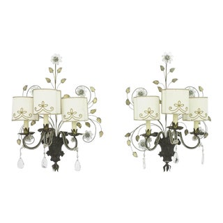Pair of Large Wall Sconces by Maison Bagues, France 1940 For Sale