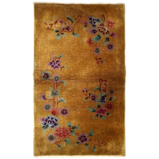 1920s Handmade Antique Art Deco Chinese Rug 2.10' X 4.9' For Sale