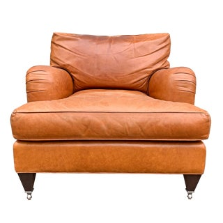Coach Leather English Roll Arm Chair For Sale