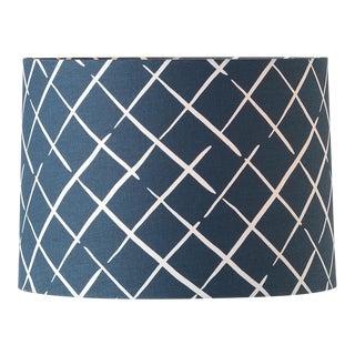 Large Madcap Cottage Indigo Trellis Print Fabric Lamp Shade For Sale