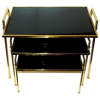 Vintage Brass & Black Glass Nesting Tables - Set of 3
