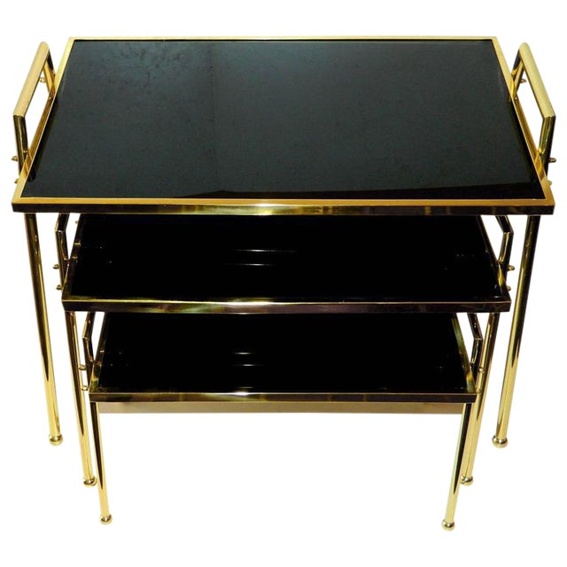 Vintage Brass & Black Glass Nesting Tables - Set of 3 For Sale