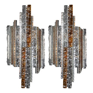 Midcentury Silvered Iron Amber and TransluCentury Glass Sconces by Poliarte - a Pair For Sale