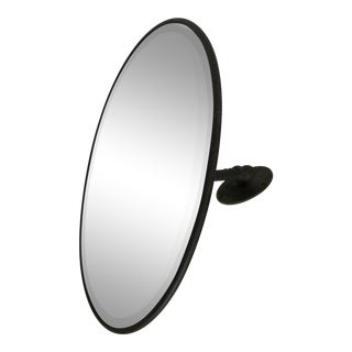 Antique Industrial Oval Beveled Glass Wall Mirror